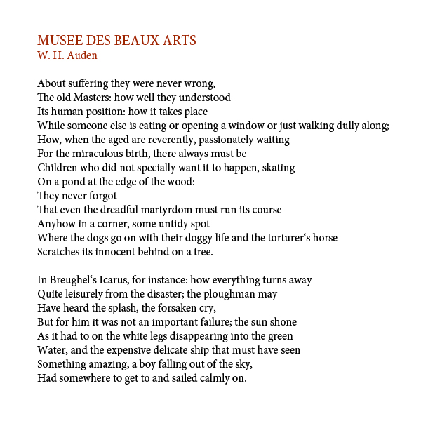 an analysis of the old masters in musee des beaux arts by wh auden