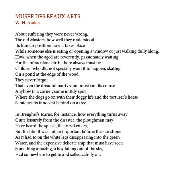 musee des beaux arts poem